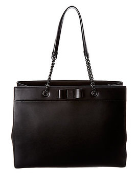 Salvatore Ferragamo Vara Bow Double Handle Leather Tote by Salvatore Ferragamo