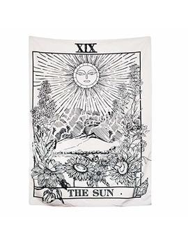 Amknn Tarocchi Arazzo, Arazzo Tarocchi The Moon The Star The Sun Arazzo Medievale Europa Divinazione Tapestry Wall Hanging Arazzi Misterioso Arazzo Per Home Decor, The Sun Tapestry, 150x130cm by Amknn