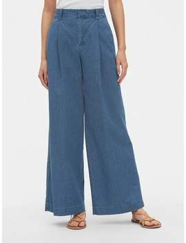 High Rise Pleated Wide Leg Jeans by Gap