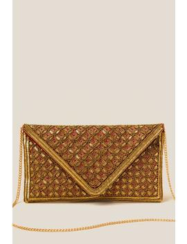Jestine Beaded Envelope Clutch In Brick by Francesca's