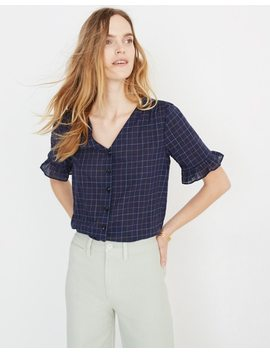 Village Ruffle Sleeve Shirt In Windowpane by Madewell