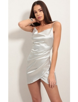 Love Lies Satin Dress In Light Silver by Lucy In The Sky