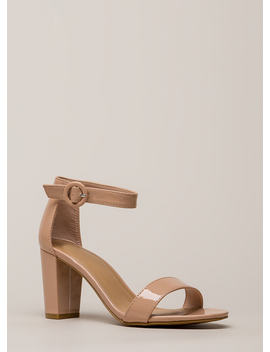 Strike A Pose Chunky Faux Patent Heels by Go Jane