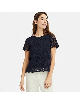 Women Lace Short Sleeve T Shirt by Uniqlo