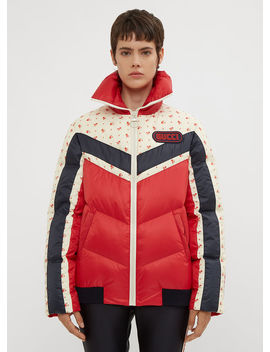Floral Stripe Puffer Jacket In Red by Gucci