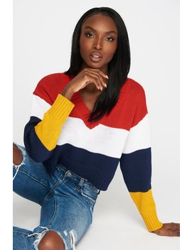 Knit V Neck Colour Block Cropped Sweater by Urban Planet