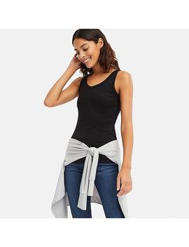 Women Cotton Blend Ribbed V Neck Sleeveless Top by Uniqlo