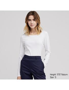 Women Cotton Ribbed Crew Neck Long Sleeved T Shirt by Uniqlo