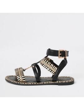 Black Cage Wide Fit Flat Sandal by River Island