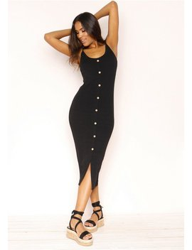 Julianne Black Ribbed Button Dress by Missy Empire