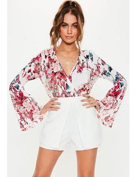 Pink Floral Plisse Long Sleeve Bodysuit by Missguided