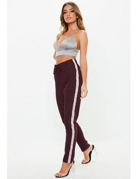 Tall Plum Side Stripe Crepe Trousers by Missguided