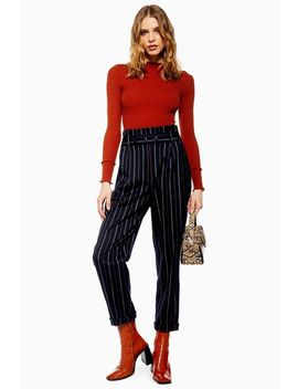 Petite Stripe Paperbag Trousers by Topshop