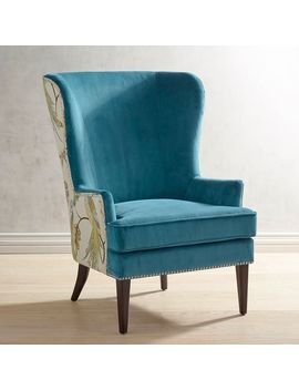 Teal Chair With Peacock Back Detail by Asher Collection