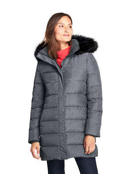 Women's Tall Winter Long Down Coat With Faux Fur Hood by Lands' End