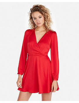 Petite Long Sleeve Elastic Waist Fit And Flare Dress by Express