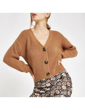 Beige V Neck Button Cardigan by River Island