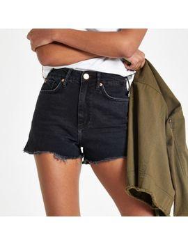 Black Annie Washed High Waist Denim Shorts by River Island