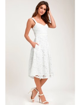 Divine Beauty White Lace Midi Dress by Lulus
