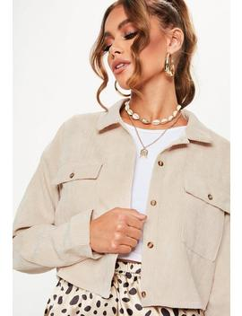 Nude Cord Cropped Shirt by Missguided