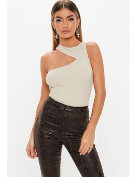 Stone Cut Out Sleeveless Knitted Bodysuit by Missguided