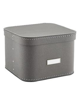 Grey Oskar Storage Box With Lid by Container Store