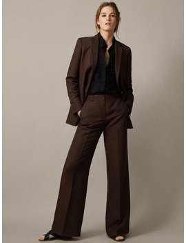Plain Linen Flared Trousers by Massimo Dutti