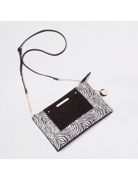 Black Zebra Print Cross Body Pouch Bag                                    Black Barely There Monochrome Sandals by River Island