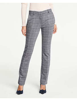The Petite Straight Leg Pant In Plaid Jacquard by Ann Taylor