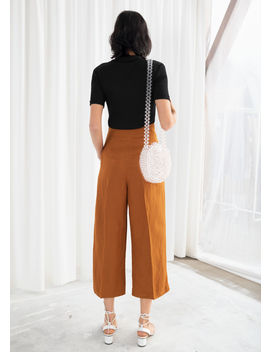 Cropped Paperbag Waist Linen Blend Trousers by & Other Stories