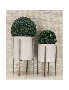 Set Of 2 Industrial Cylindrical Light Gray Planters By Studio 350 by Studio 350