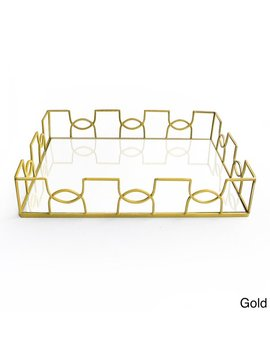 Curved Metal And Glass Tray by American Atelier