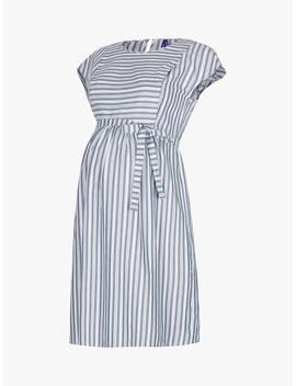 Séraphine Presley Pinstripe Tie Waist Maternity And Nursing Dress, Blue/White by Séraphine