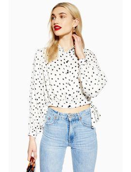 Spot Jacquard Cropped Shirt by Topshop