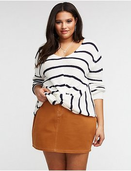 Plus Size Front Twist V Neck Pullover Sweater by Charlotte Russe