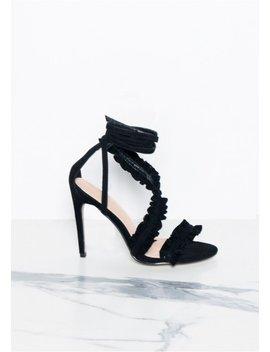Tula Black Suede Ruffle Wrap Heels by Missy Empire
