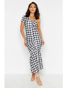 Gingham Asymetric Dress by Boohoo