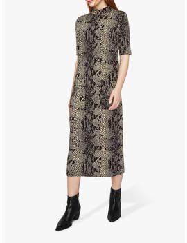 Warehouse Oversized Ponte Snake Print Midi Dress, Multi by Warehouse