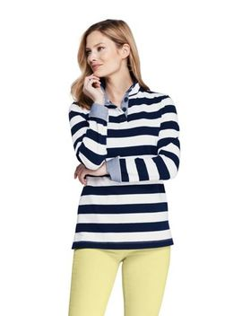 Womens Heritage Jersey Stripe Long Sleeve Quarter Placket Pullover by Lands' End