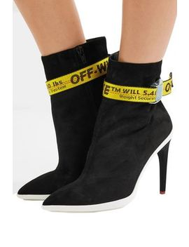 Woven Trimmed Suede Ankle Boots by Off White™