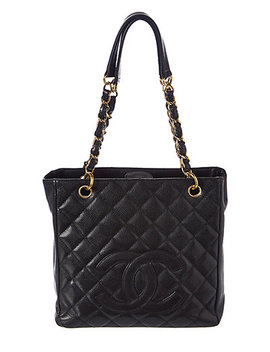Chanel Black Quilted Caviar Leather Petite Shopping Tote by Chanel