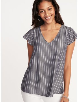 Striped V Neck Flutter Sleeve Top For Women by Old Navy