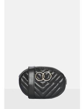Black Chevron Quilted Double Circle Belt Bum Bag by Missguided