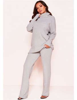 Helena Grey Knit Roll Neck Co Ord Set by Missy Empire