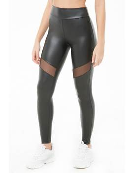 Faux Leather Mesh Panel Leggings by Forever 21