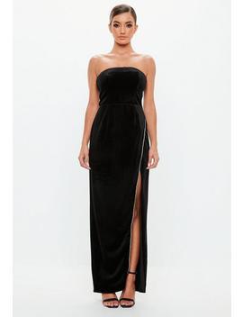 Peace + Love Black Velvet Bandeau Maxi Dress by Missguided