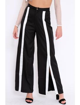 Black High Waist White Strip Trousers   Berdie by Rebellious Fashion