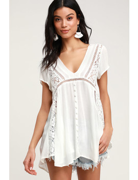 Take A Walk Ivory Sheer Lace Tunic Top by Sage The Label
