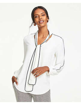Contrast Tipped Tie Neck Blouse by Ann Taylor