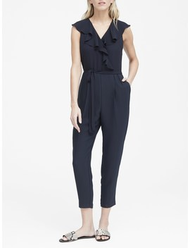 Ruffle V Neck Cropped Jumpsuit by Banana Repbulic